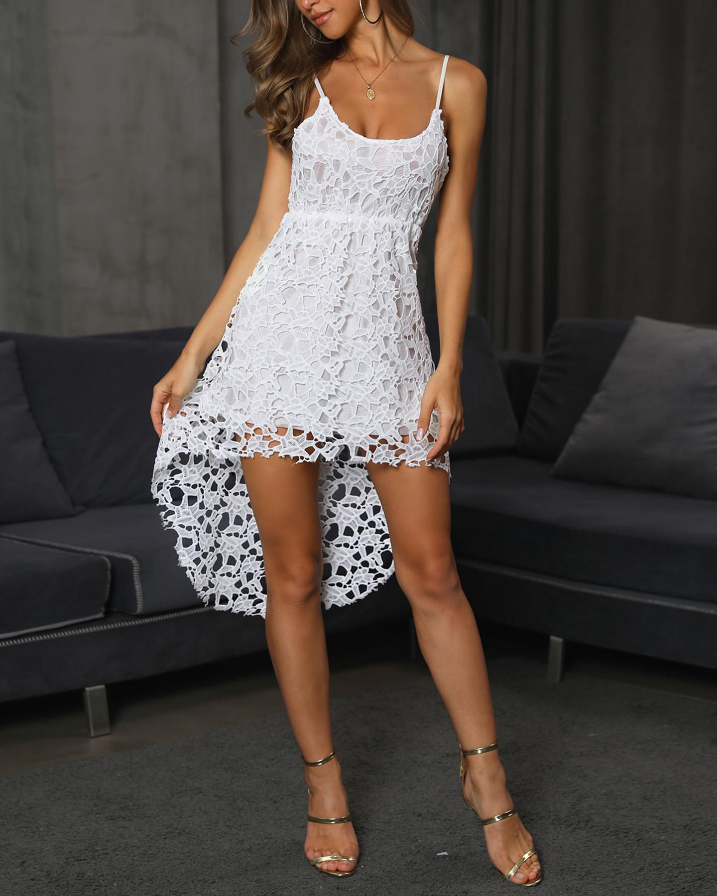 Crochet Lace Irregular Dip Hem Slip Dress