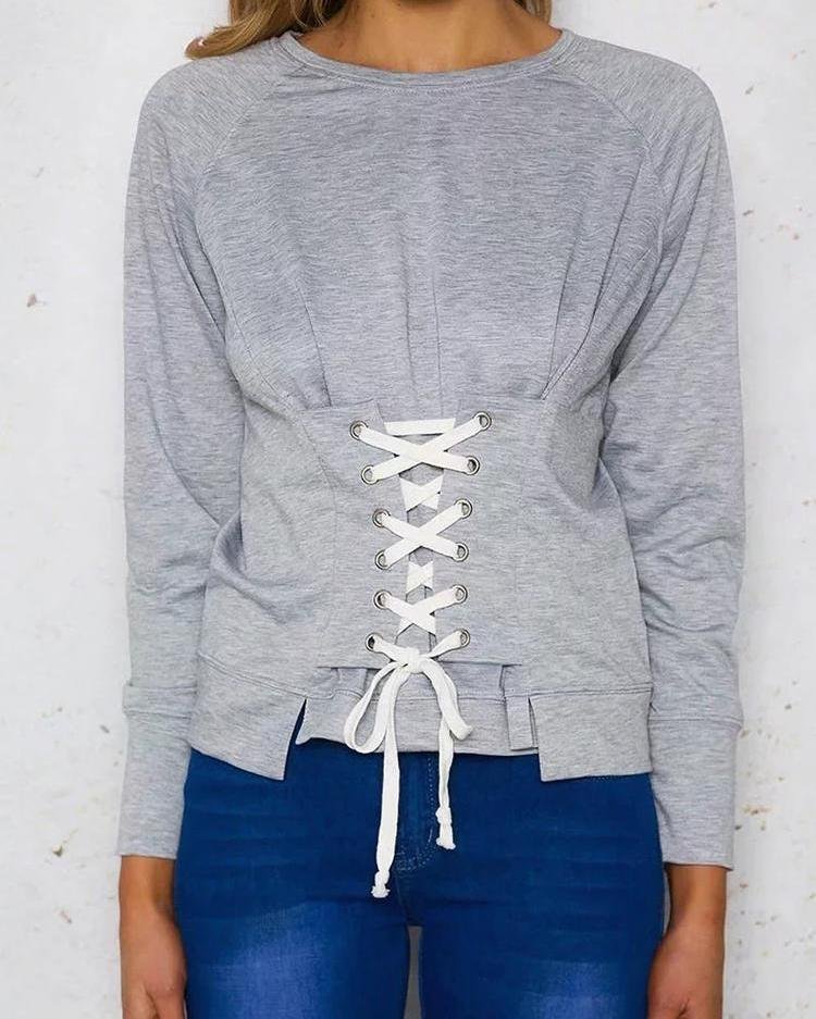 Solid Lace-Up Front Casual Sweatshirt фото