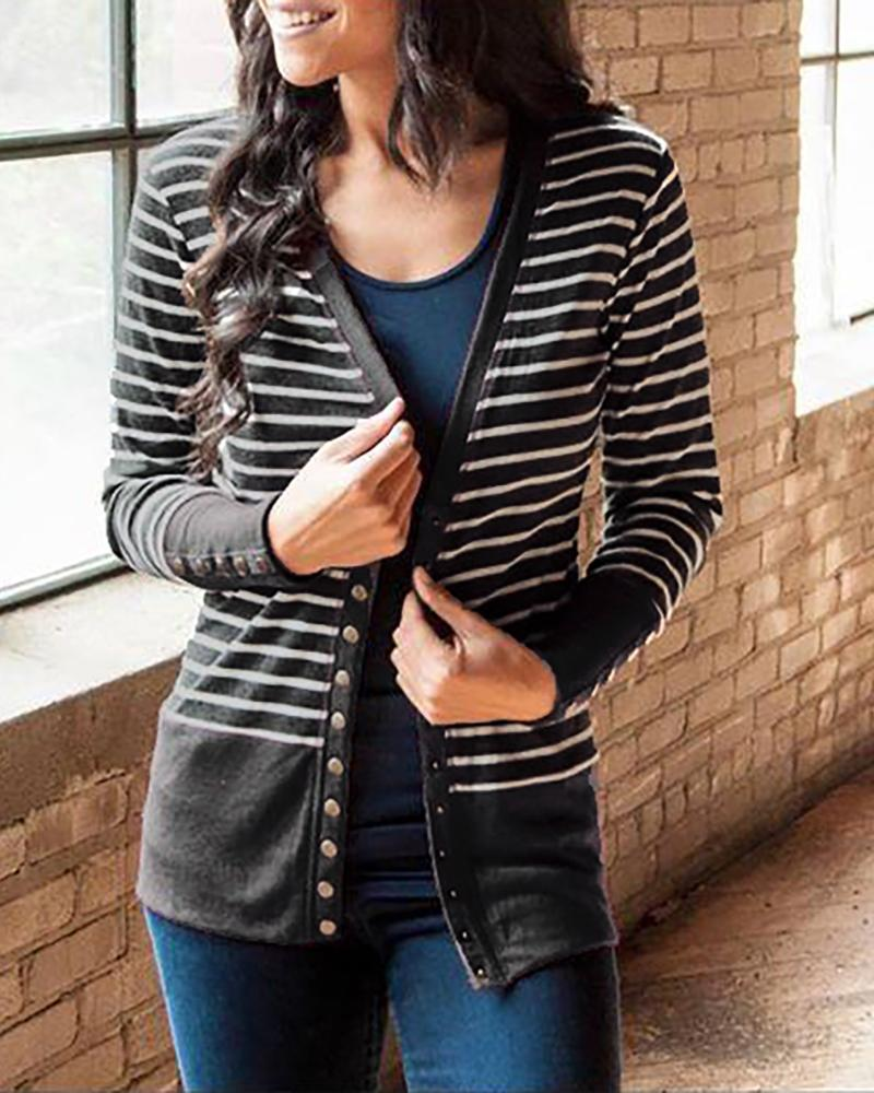 Contrast Binding Striped Buttoned Cardigan, Gray