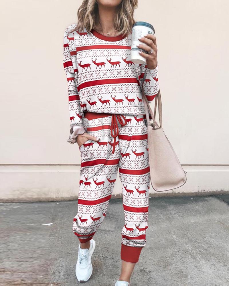 boutiquefeel / Conjunto navideño de pantalón con cordón y top con estampado mixto