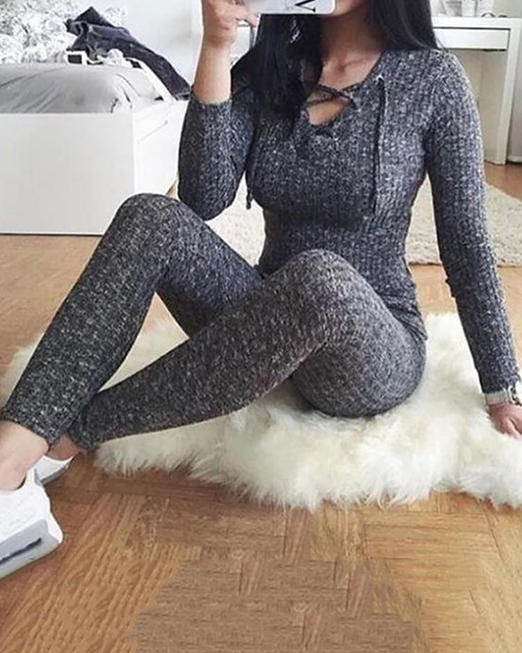 Купить со скидкой Lace Up Long Sleeve Skinny Jumpsuit
