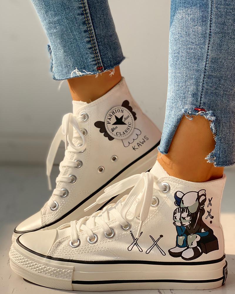 chicme / Zapatillas casuales con cordones estampadas