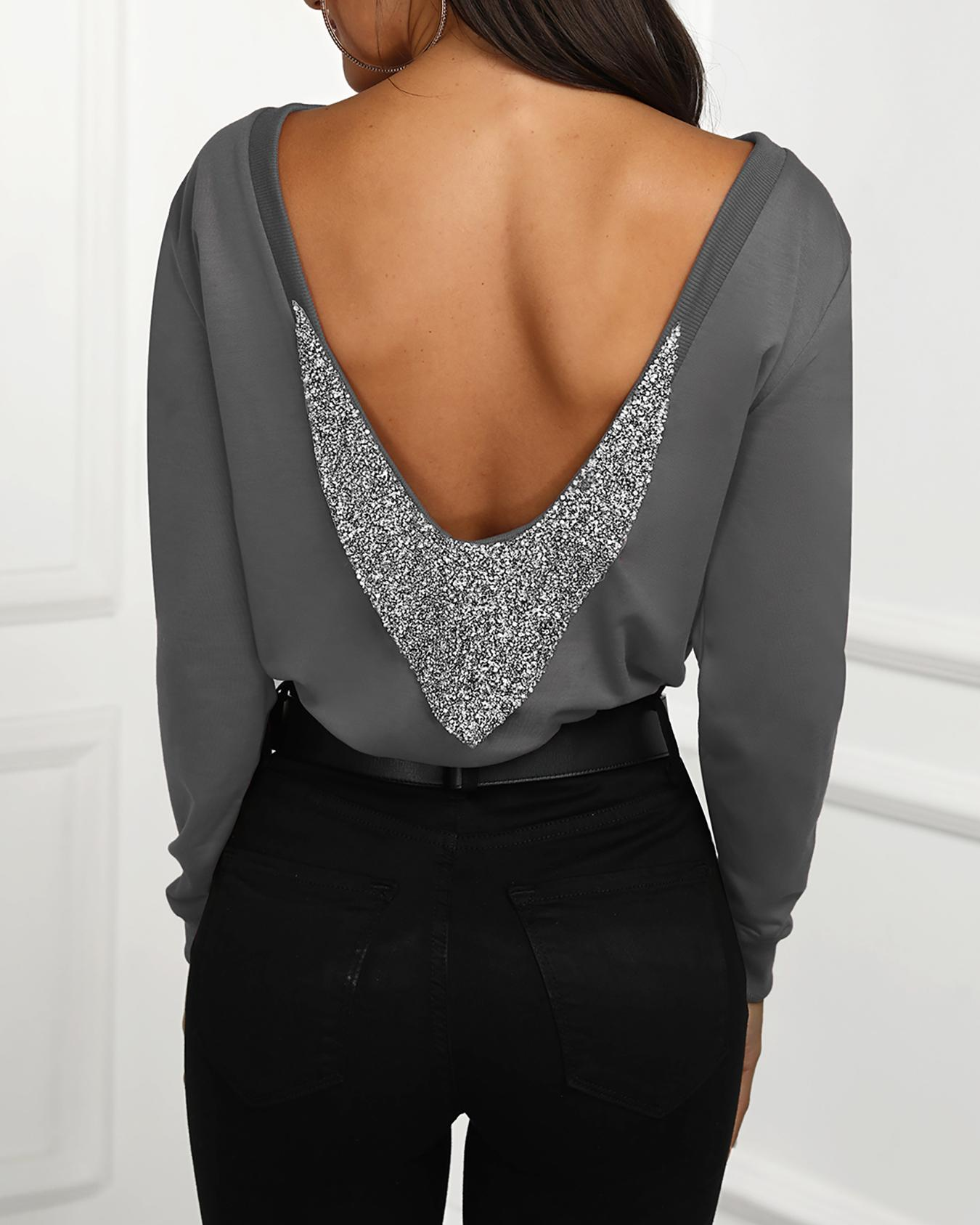 Shiny Sequins Embellished Open Back Blouse фото