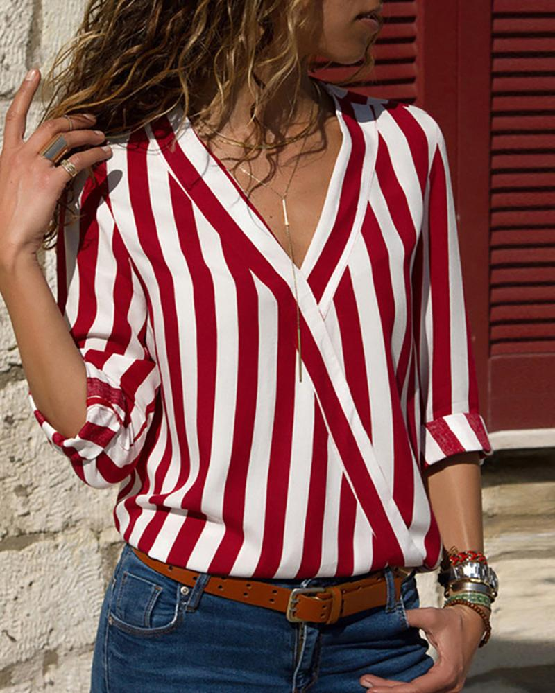 Long Sleeve V Neck Striped Blouse фото