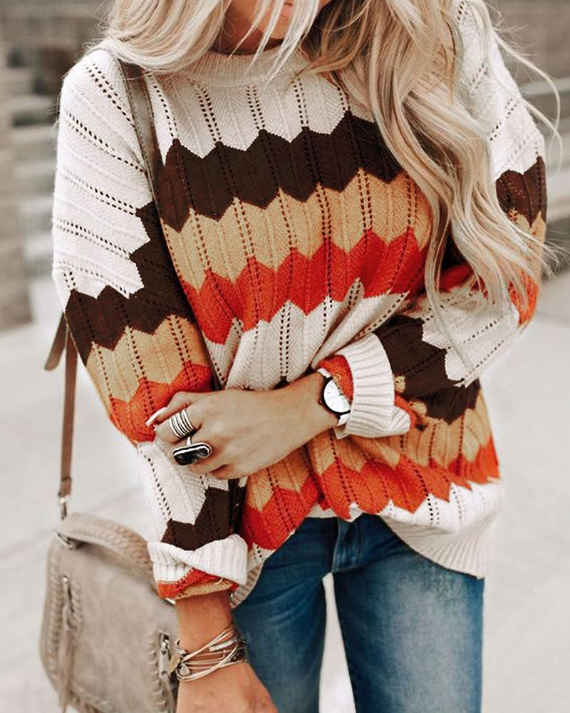 Colorblock Knit Hollow Out Casual Sweater фото