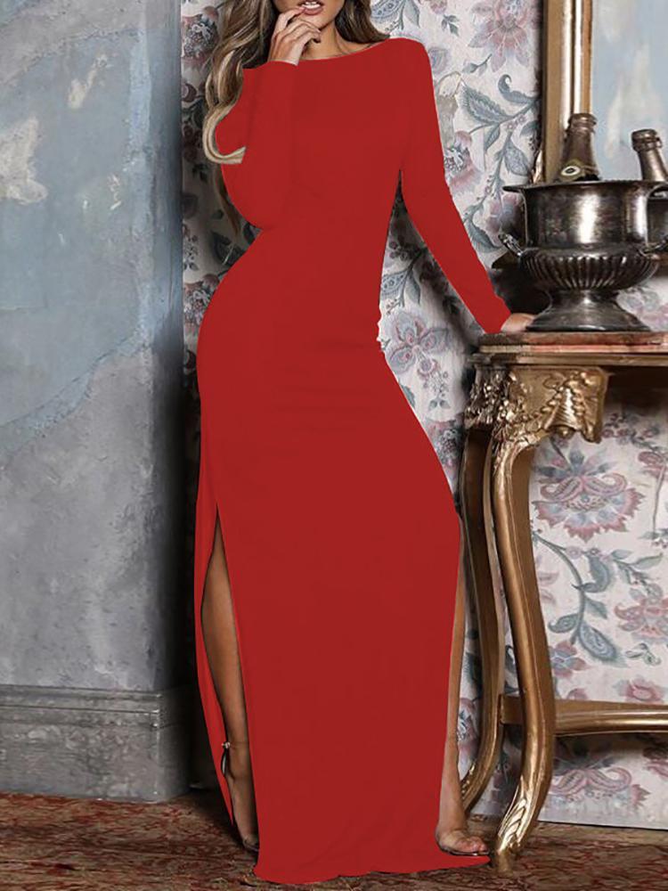 ivrose / Vestido de noche con abertura lateral en la parte posterior abierta