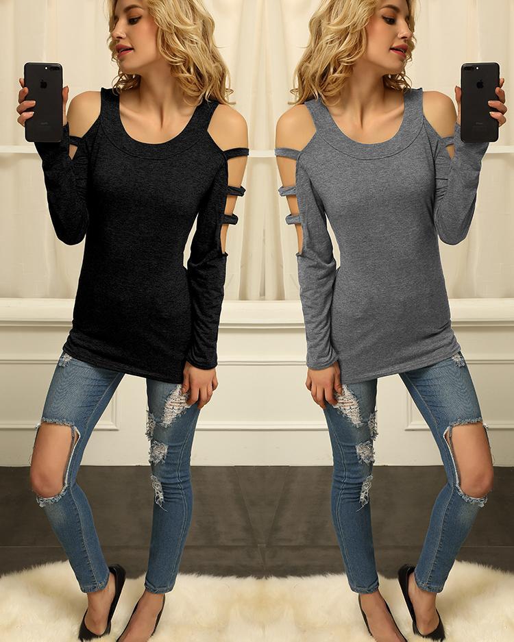 Women Sexy Cut Out Sleeve T-shirt