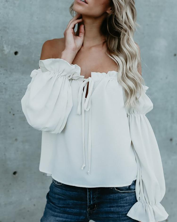 Stretchy Ruffled Off Shoulder Casual Blouse