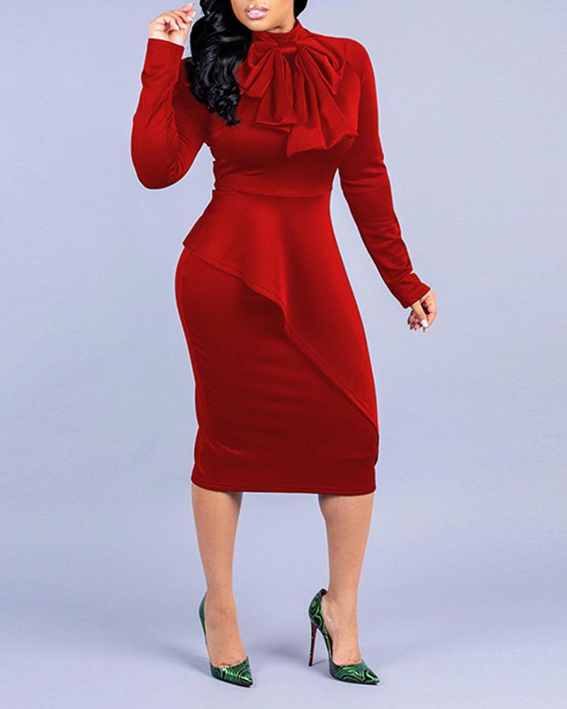 Solid Tie Neck Midi Dress фото