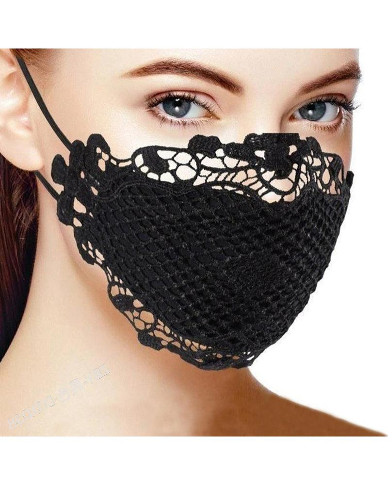 Lace Hem Outdoors Breathable Face Mask фото