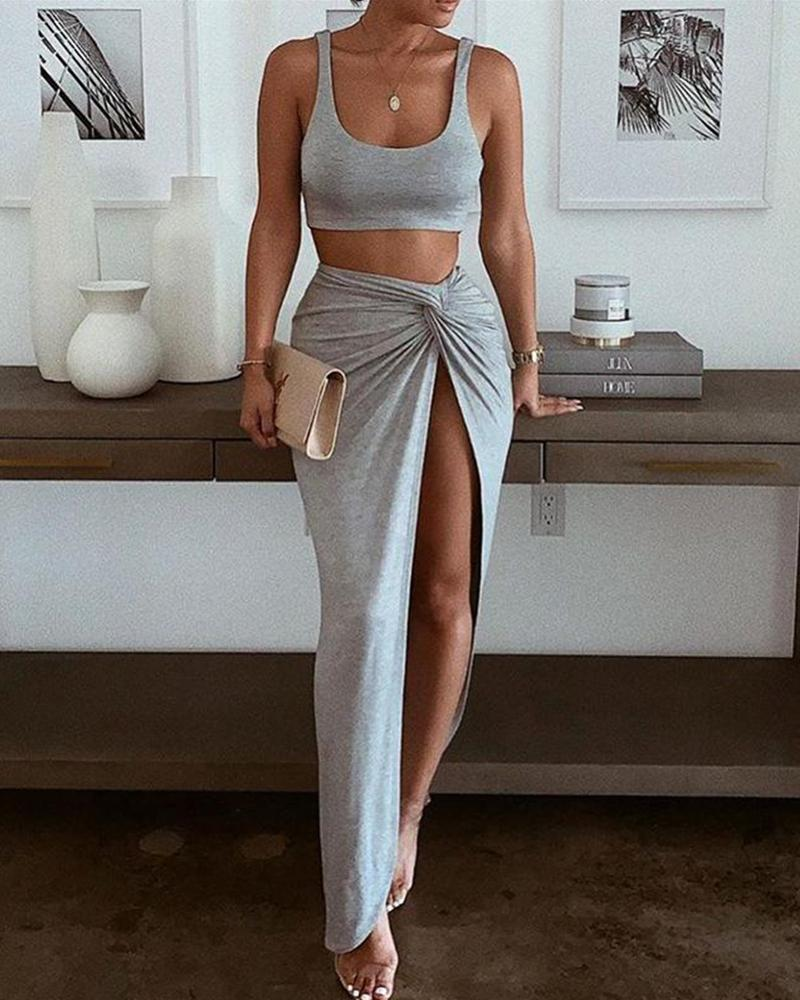 Solid HIgh Slit Two-Piece Dress