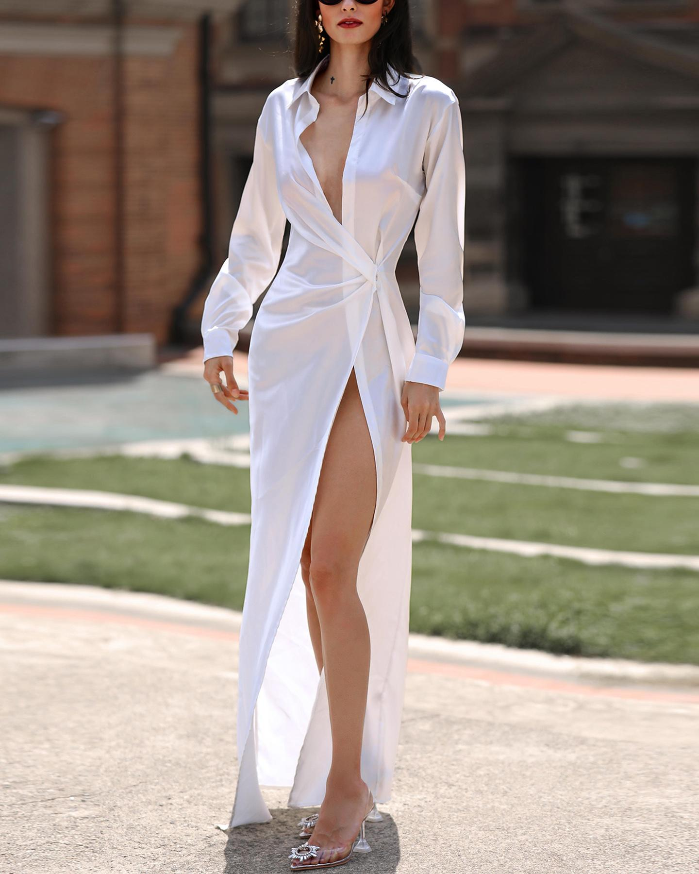 Solid Twisted Design Shirt Dress фото