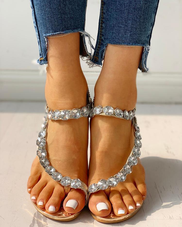 Stud Detail Slingback Thong Sandals