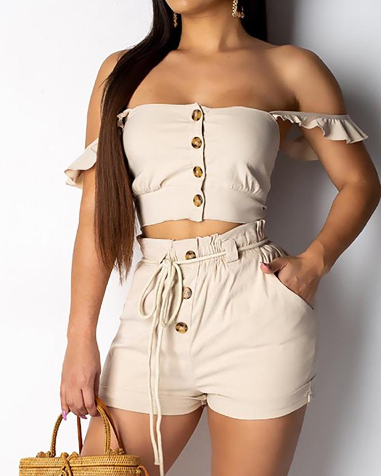 Off Shoulder Crop Top & Shorts Set фото