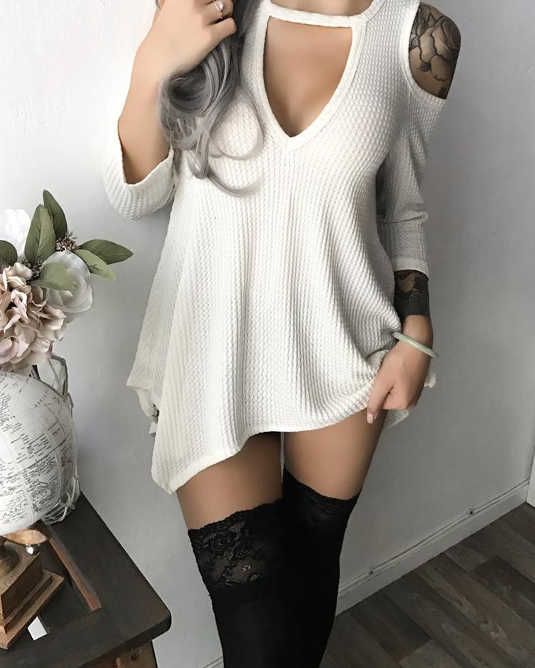 Open Shoulder Cutout Irregular Mini Dress