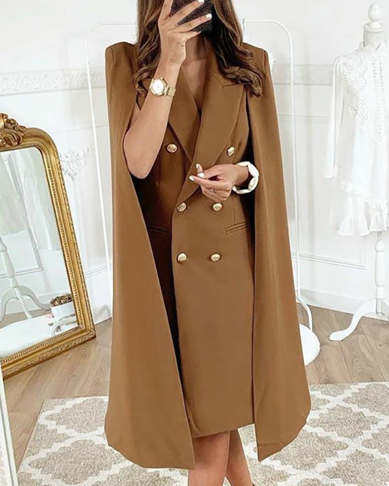 boutiquefeel / Solid Cape Design Double Breasted Blazer Dress