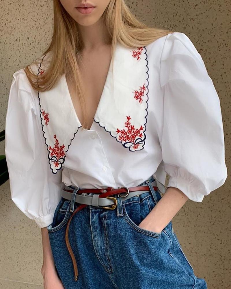 ivrose / Blusa casual con bordado de manga hinchada
