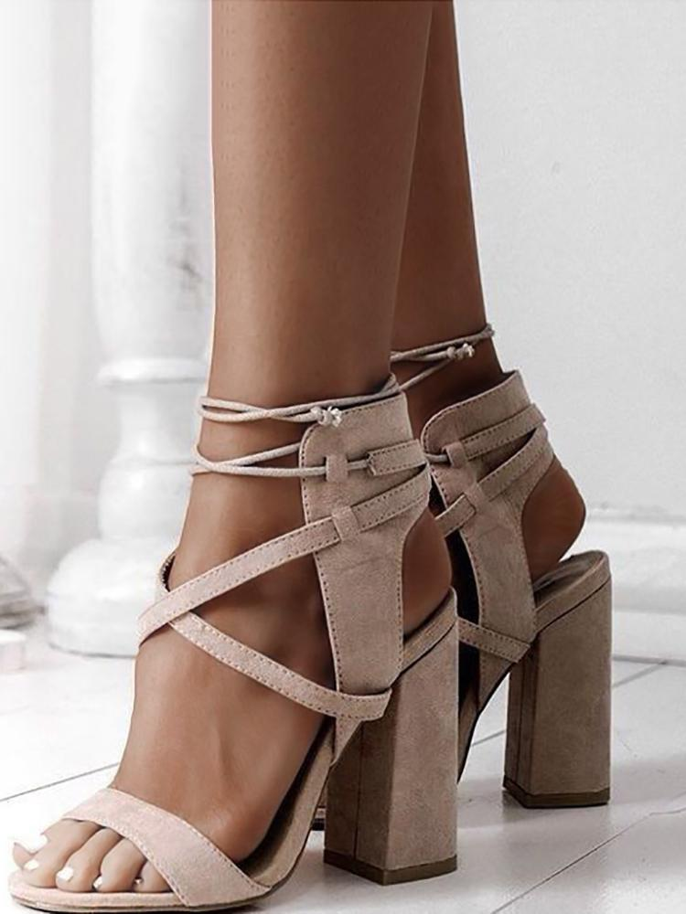 ivrose / Lace Up Open Toe Block Heels Sandals