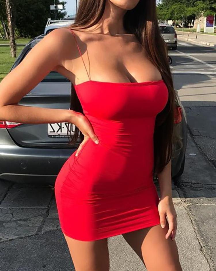 Seductive Solid Spaghetti Strap Bodycon Dress фото