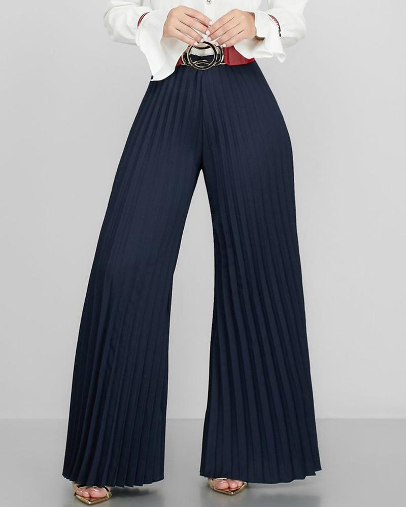 chicme / Pantalón casual de pierna ancha plisada sólida
