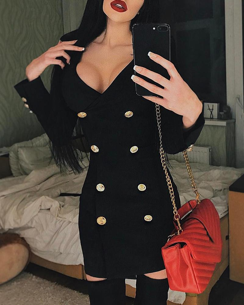 Double Breasted V Neck Wrapped Dress