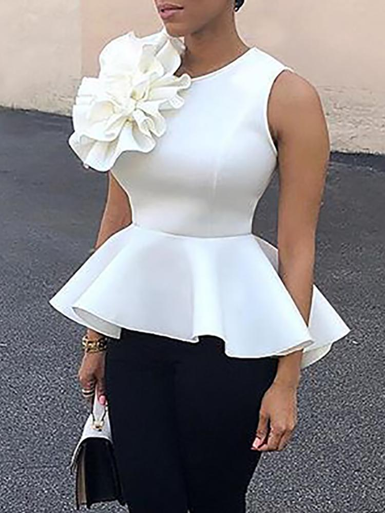 Flower Applique Zipper Back Peplum Top