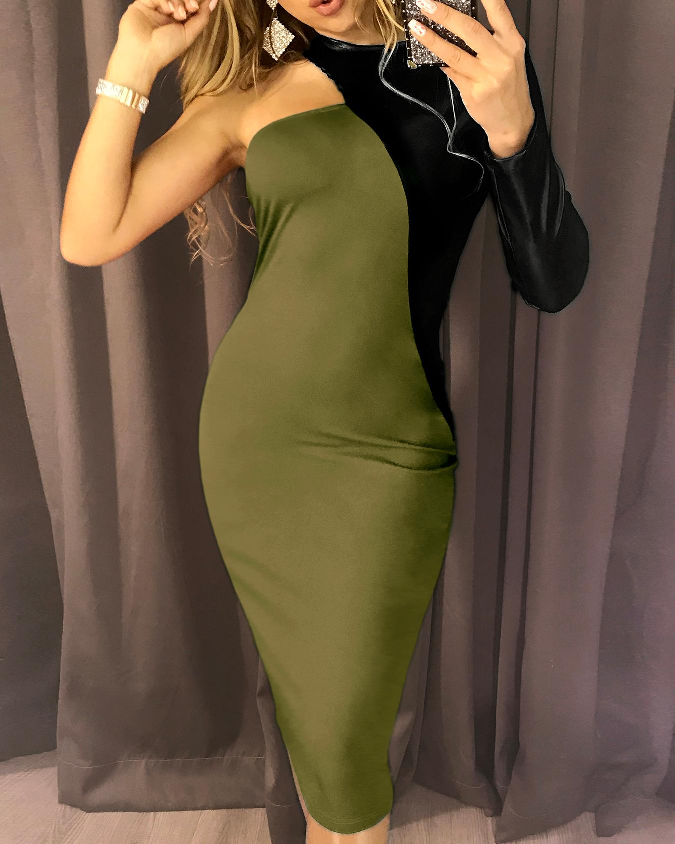 PU Splicing One Long Sleeve Party Dress, Army green