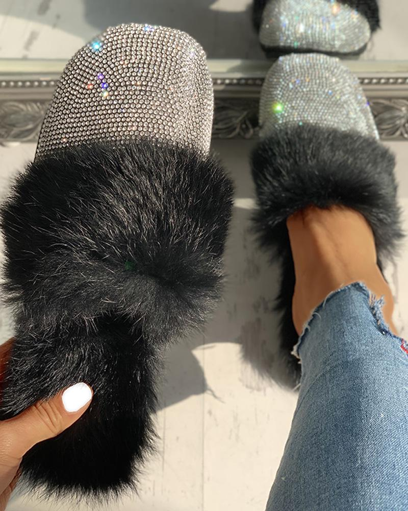 chicme / Fluffy Glitter Sequins Flat Shoes