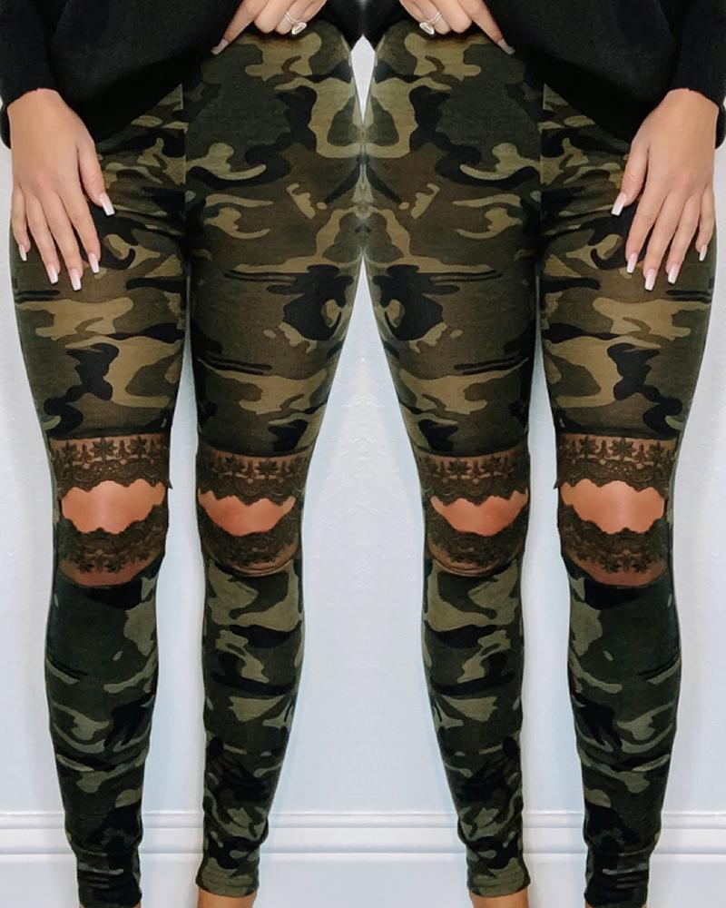 Camouflage Lace Insert Cut Out Casual Pants фото
