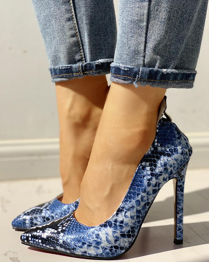 Pointed Toe Snakeskin Print Thin Heels фото