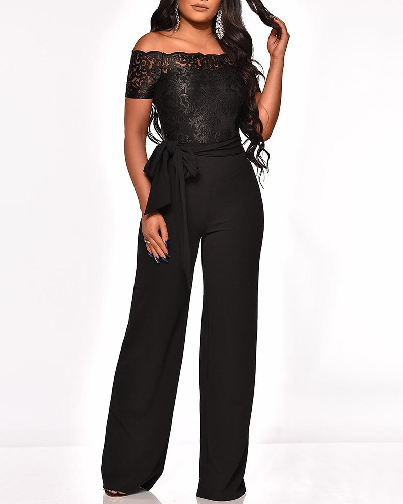 Off Shoulder Lace Embroidery Wide Leg Jumpsuit, Black