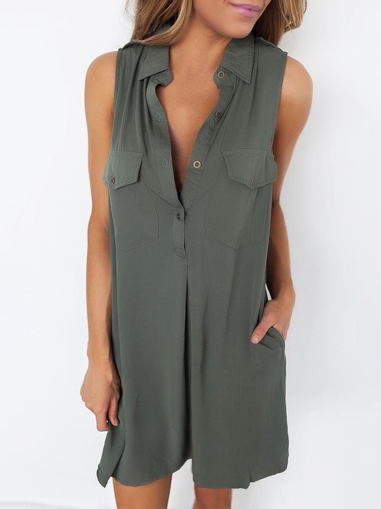 Button Detail Pocket Pleated Shirt Dress