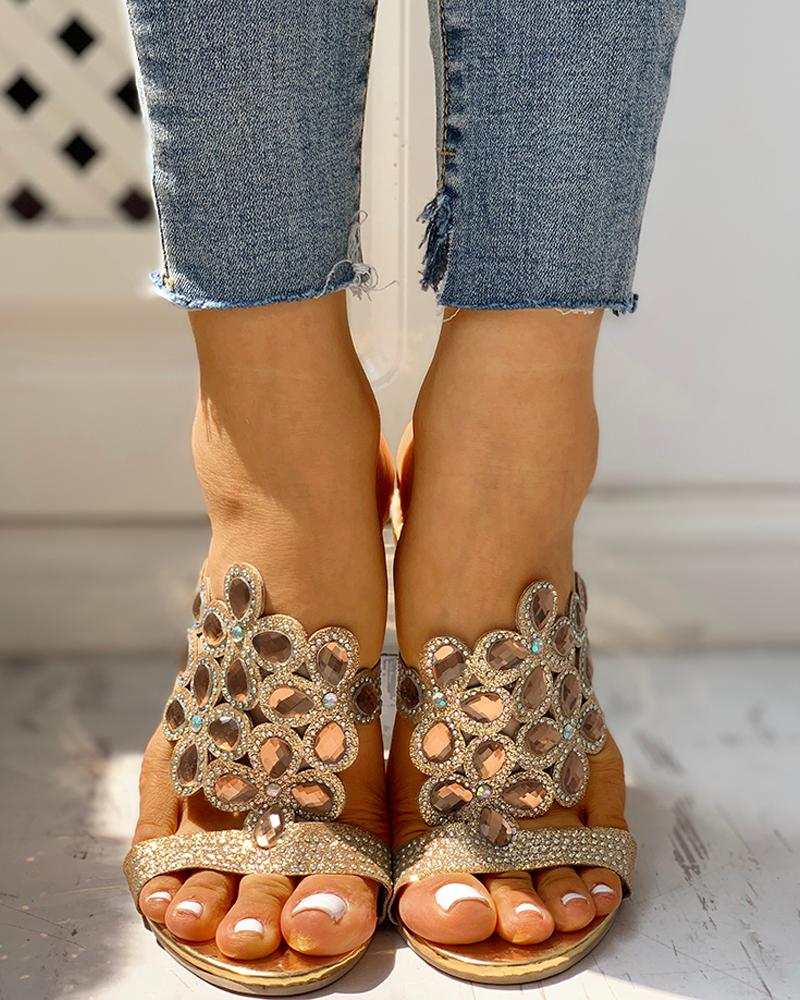Studded Diamante Trim Chunky Heeled Sandals фото