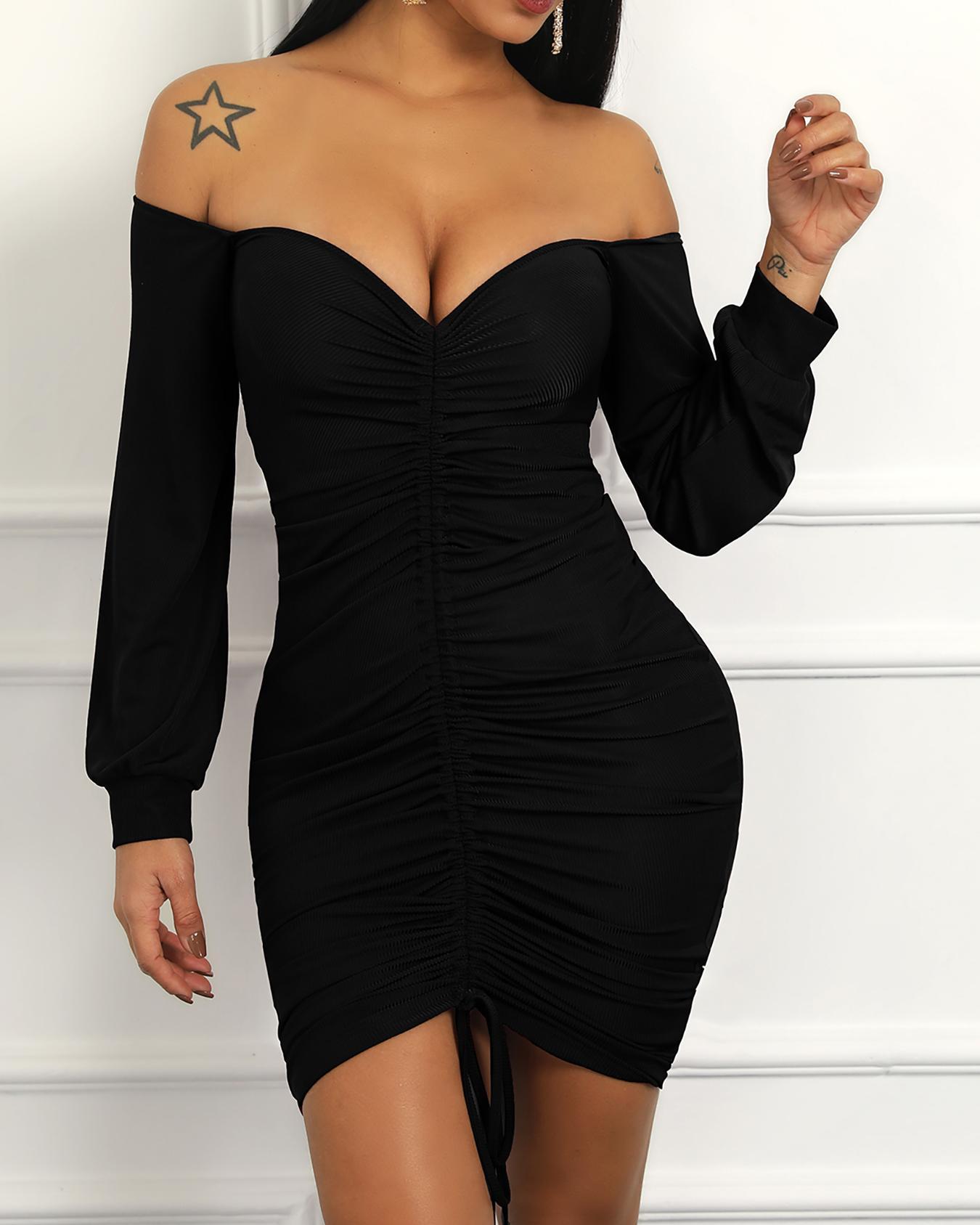 Off Shoulder Lantern Sleeve Drawstring Design Dress фото