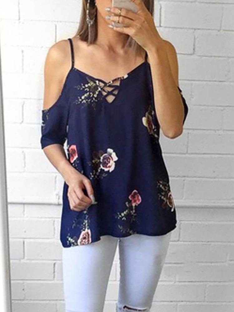Floral Print Lace-Up Cold Shoulder Blouse