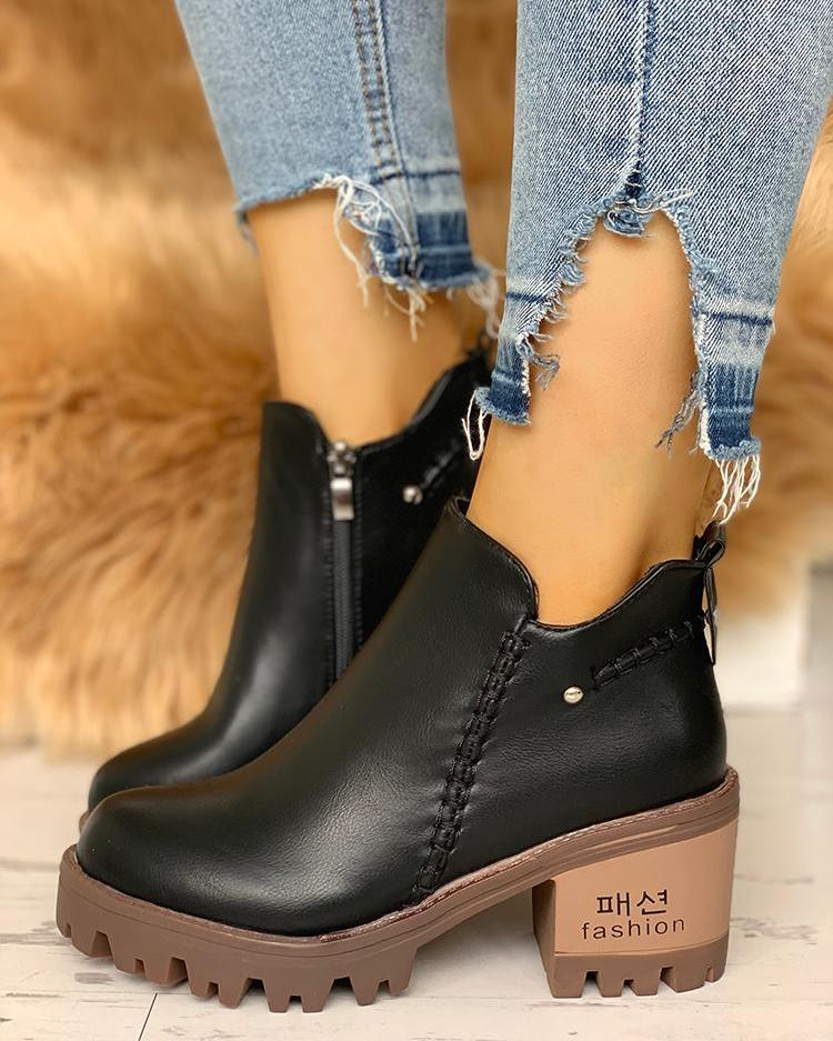 PU Zip Up Side Platfrom Ankle Boots
