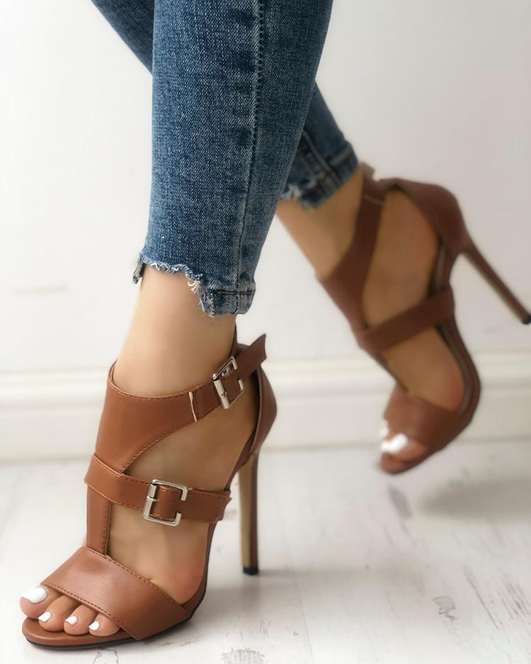 Solid Open Toe Ankle Strap Thin Heeled Sandals