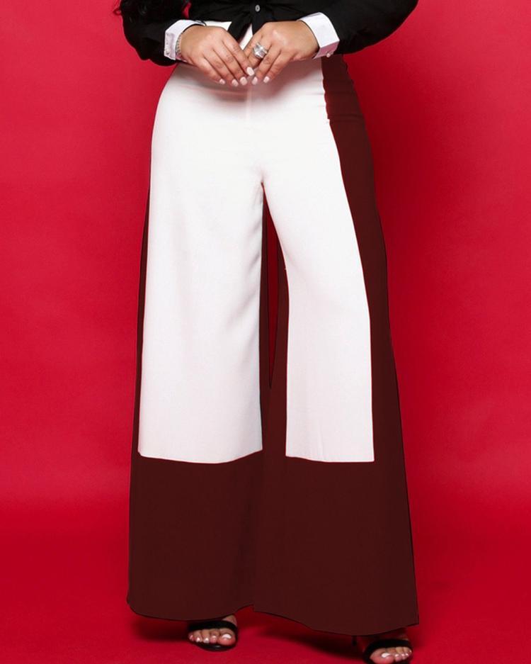 Contrast Color Wide Leg Pants