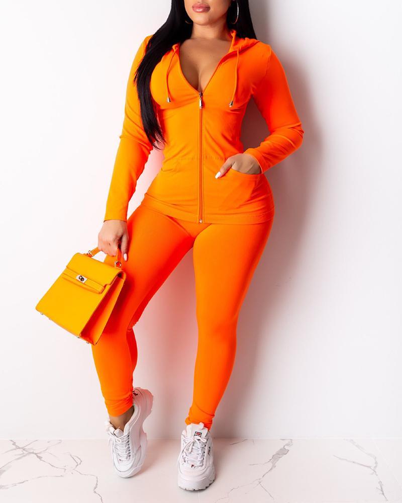 Zipper Design Hooded Top & Fitted Pants Set фото
