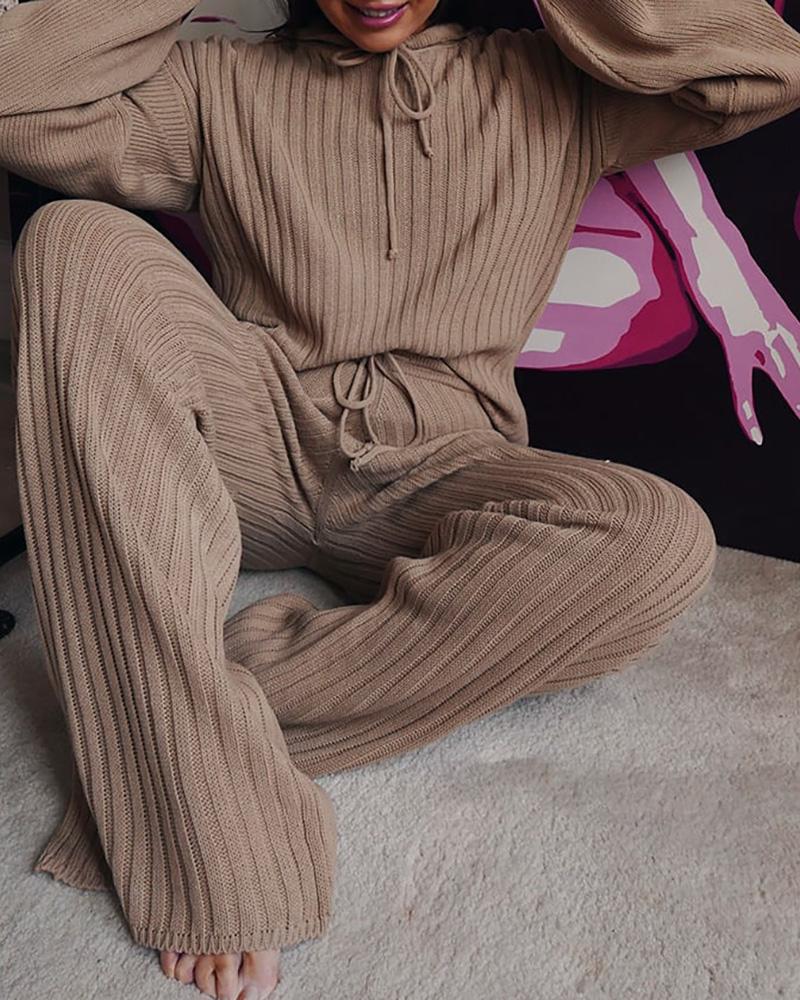 Solid Long Sleeve Hooded Top & Drawstring Pants Set фото