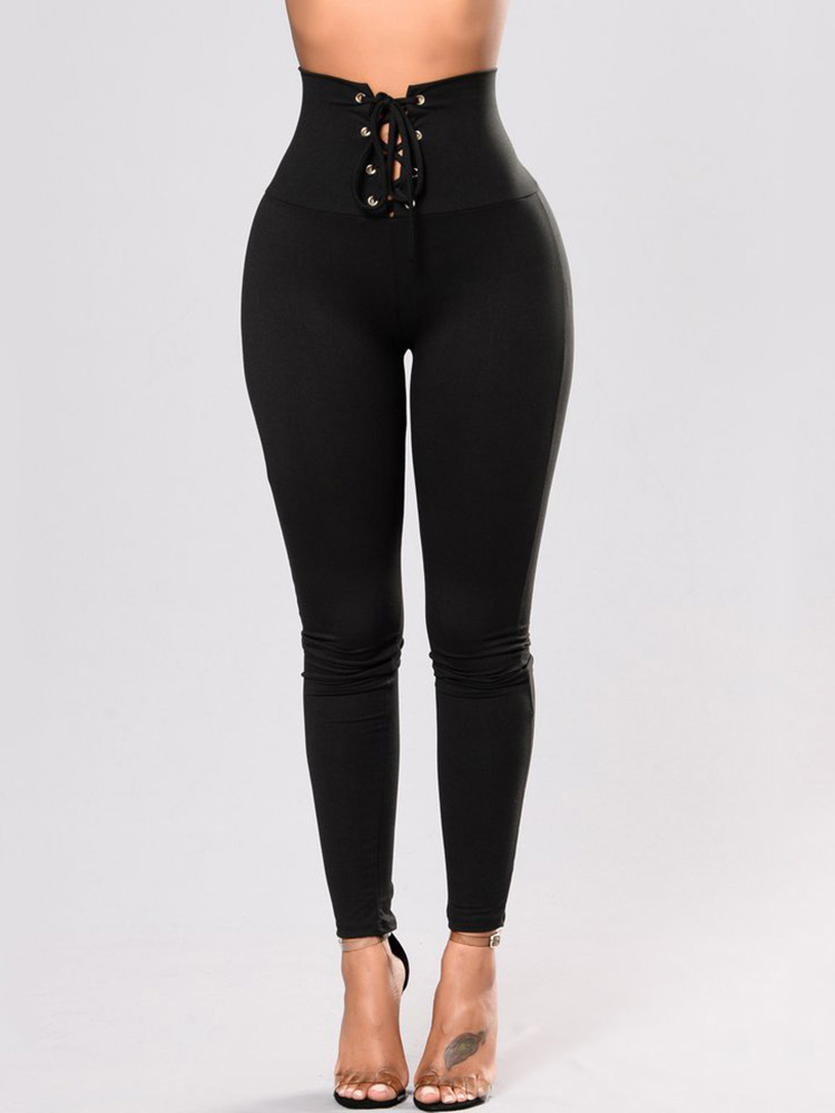 Купить со скидкой Lace-up High Waisted Slim Fit Leggings