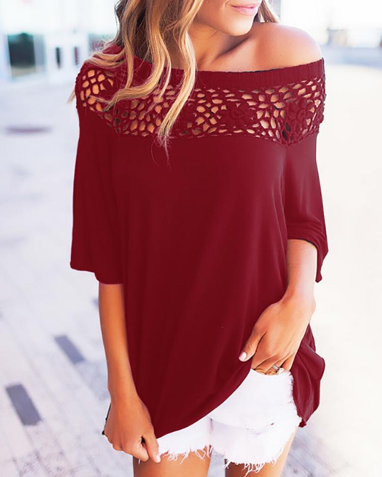 Модные Твердые Выдалбливают Лоскутное Случайный Блузка - Бордовый