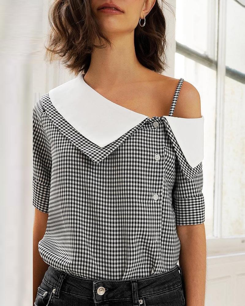 ivrose / Grid Print Oblique Placket Casual Blouse