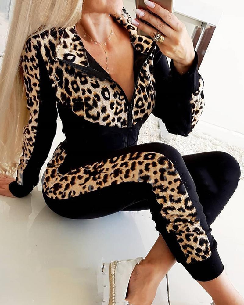 joyshoetique / Leopard Splicing Long Sleeve Skinny Suit Sets