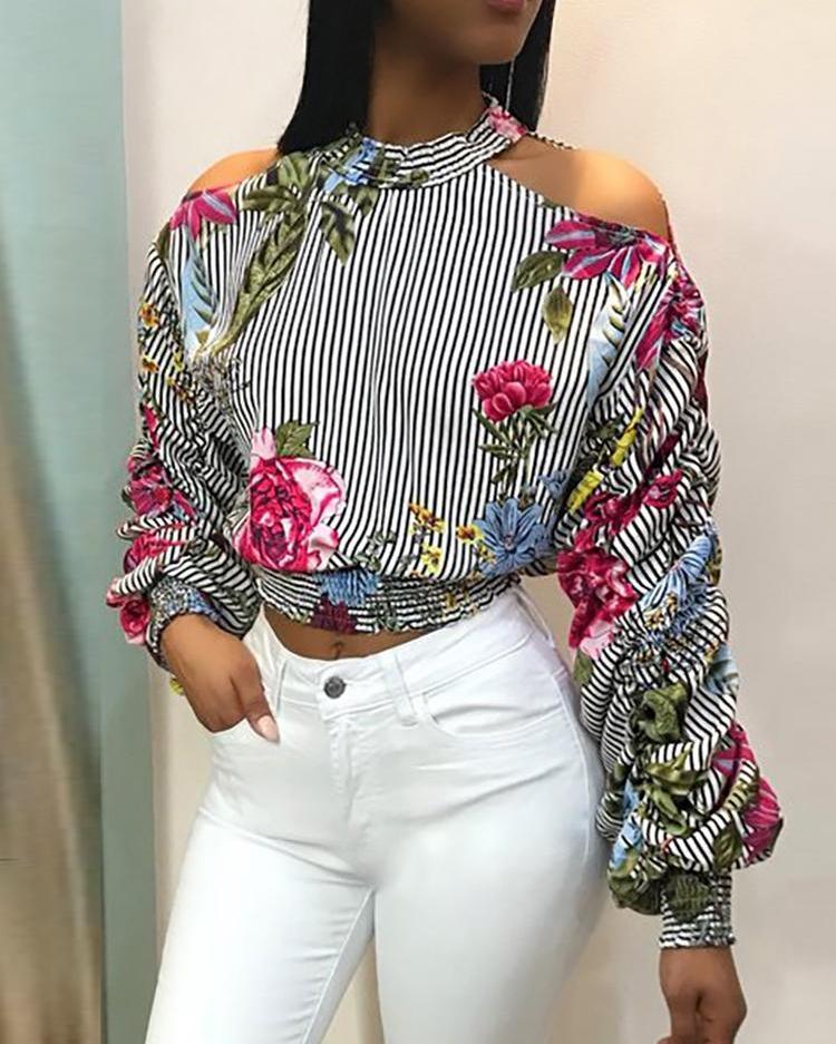 Cold Shoulder Striped Floral Print Blouse