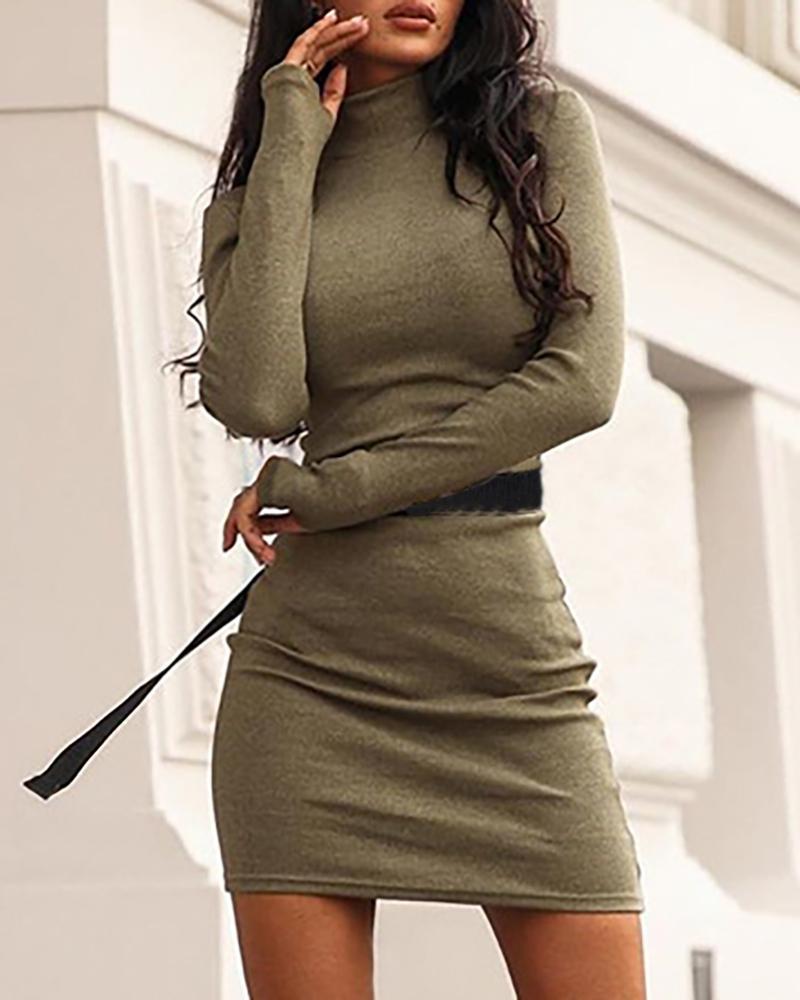 Solid Mock Neck Long Sleeve Bodycon Dress, Green