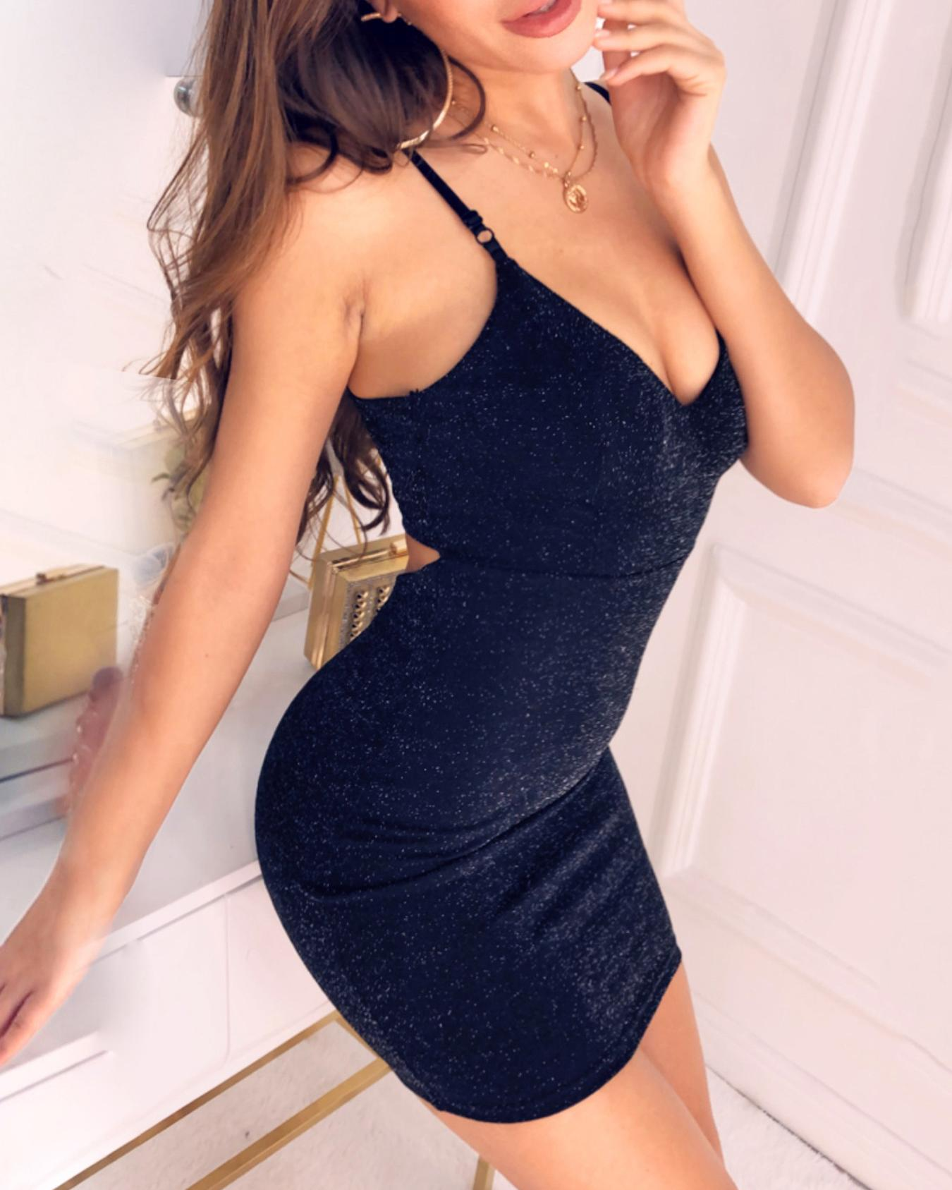 Glitter Cutout Back Bodycon Dress