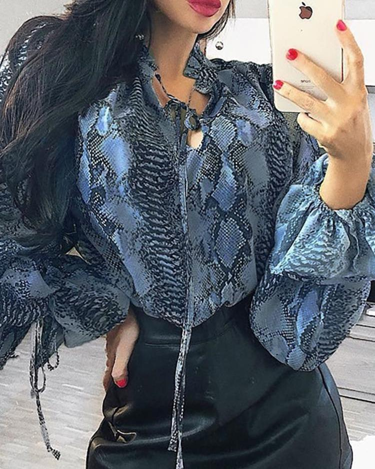 Snake Print Tie Neck Bell Sleeve Blouse фото