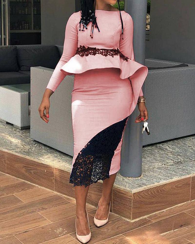 Lace Insert Ruffle Midi Dress фото