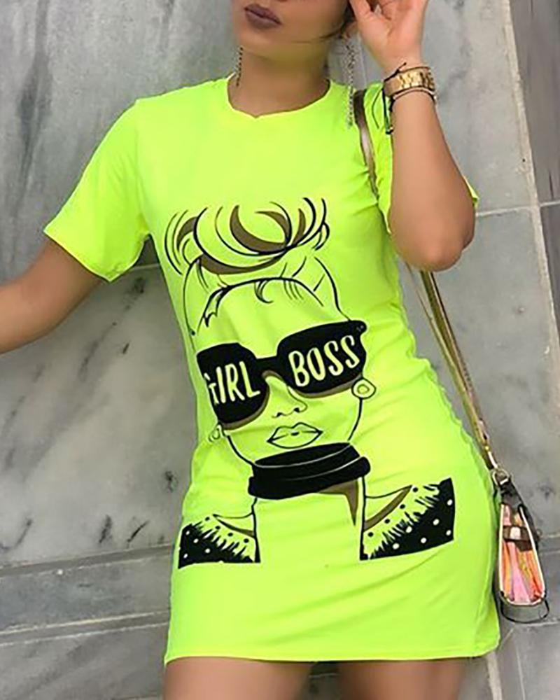 Figure Print Short Sleeve T-Shirt Dress фото